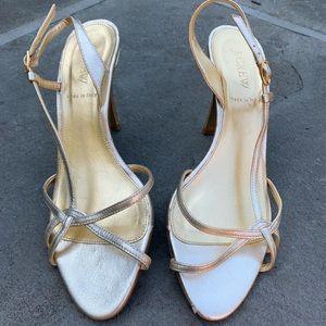 J. Crew Gold Strappy Heels